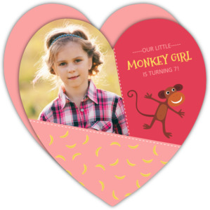 Pink Monkey Girls Birthday Invitation