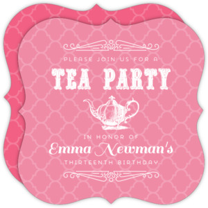 Pink Elegant Tea Party Birthday Invitation