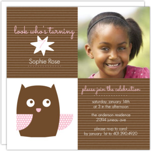Brown And Pink Owl Kids Birthday Invitation