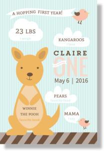 Hopping Kangaroo Milestones Birthday Poster Print