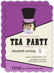 Purple Wonderland Mad Hatter Tea Party Invitation