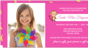 Bright Pink Photo Monkey Kids Birthday Party Invite