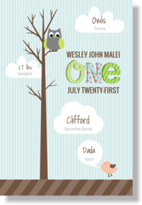 Hooting Owl Milestones Birthday Poster Print