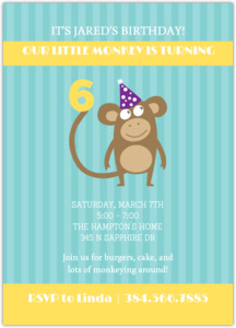 Turquoise and Yellow Monkey Invitation