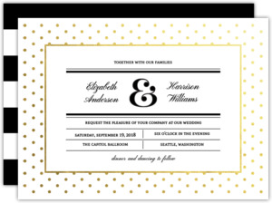 Modern Type Gold Foil Dot Wedding Invitation