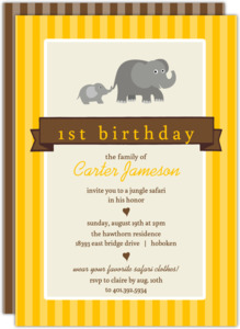 Yellow Baby Elephant Safari 1St Birthday Invitation