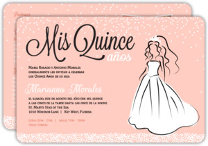 Peach White Princess Dress Quinceanera Invitation