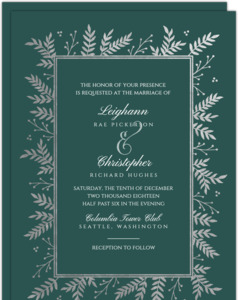 Silver Foil Foliage Frame Wedding Invitation