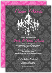 Gray And Pink Damask Chandelier Quinceanera Invitation