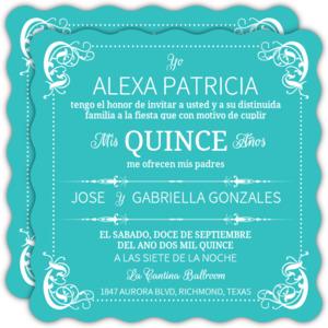 Turquoise Flourish Border Quinceanera Invitation