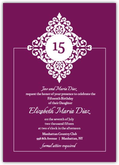 Purple and Black Floral Monogram Quinceanera Invitation ...