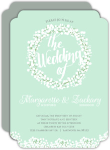 Whimsical Mint Babys Breath Wedding Invitation