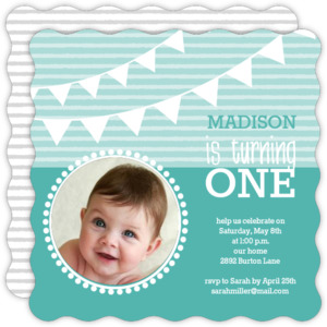 Turquoise Banner First Birthday Invite