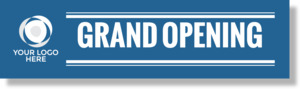 Custom Blue Stripe Grand Opening Business Banner