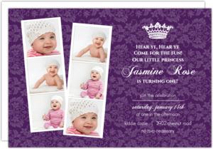 Photo Strip Royal Purple 1St Birthday Party Invitations