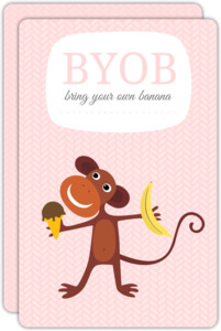 Ice Cream Monkey First Birthday Party Invitation