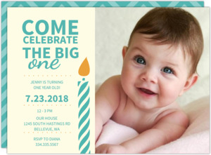 Turquoise and White First Birthday  Photo Invite