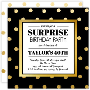 Black and Gold Surprise Birthday Invitation