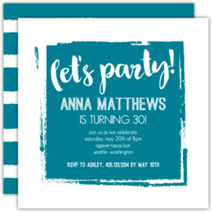 Painted Block Birthday Party Invitation