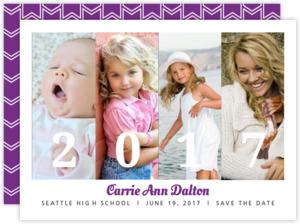 Purple Graduation Save The Date Announcement