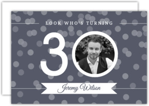 White And Gray Photo Confetti Thirtieth Birthday Invitation