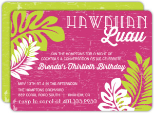 Tropical Palm Leaves Luau Party Invitation