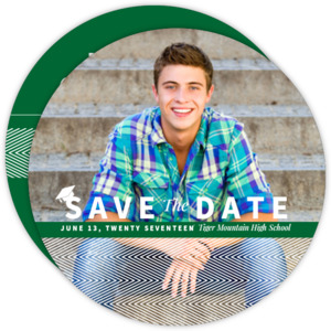 Green & White Stripes Tiger Mountain HS Graduation Save The Date Announcement