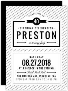 Modern Black & White Birthday Party Invitation