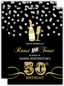 Champagne Confetti 50th Birthday Invitation