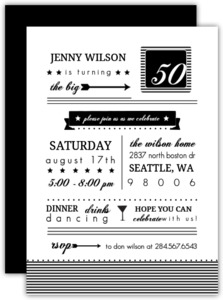 Modern Black And White 50Th Birthday Invitation