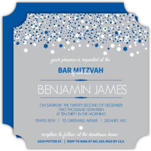 Gray and Blue Bubbles Bar Mitzvah Invitation