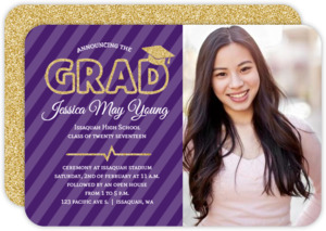 Faux Gold Glitter Grad Cap Photo Invitation