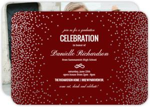 Silver Confetti Foil Frame Graduation Invitation