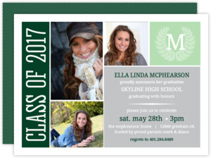Monogram Seal Graduation Photo Invitation