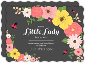 Floral pink and black ladybug baby shower invitation 3082 0 big wavy