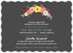 Floral pink and black ladybug baby shower invitation 3082 2 big wavy