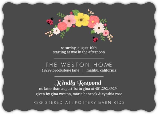 Floral Pink and Black Ladybug Baby Shower Invitation