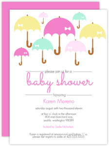 Umbrella Shower Girl Baby Shower Invites