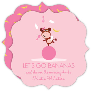 Monkey Girl Baby Shower Invitation