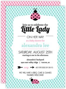 Bright Colors Gingham Ladybug Baby Shower Invitation