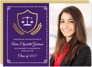 Gold Foil Crest Law School Graduation Invitation
