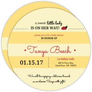 Yellow Striped Ladybug Baby Shower Invitation