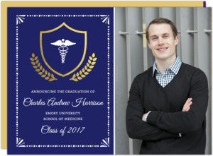 Gold Foil Crest Medical School Graduation Invitation
