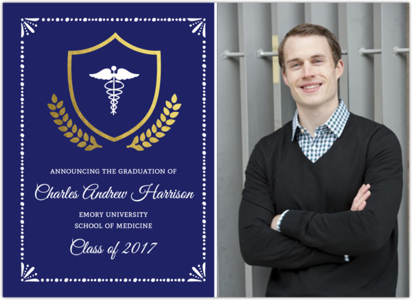 Gold Foil Crest Medical School Graduation Invitation – Medical School Graduation Invitation