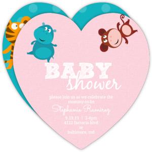 Cute Jungle Animals Heart Baby Shower Invite