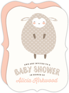 Polkadot Little Lamb Baby Shower Invitation