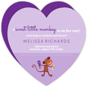 Purple Girls Monkey Baby Shower Invite