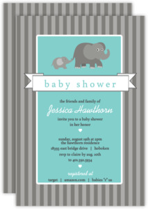 Gray Elephants Baby Shower Invitation