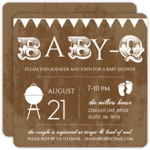 Babyq Rustic White Baby Shower Invitation