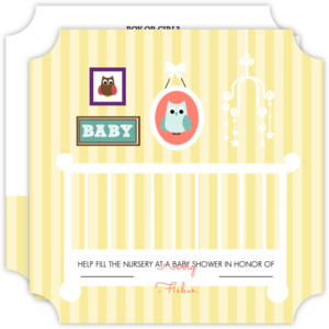 Soft Striped Owl Nursery Baby Shower Invitation